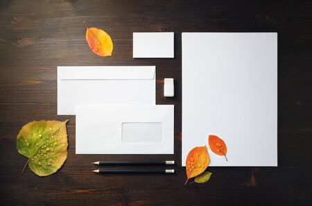 Blank corporate stationery and bright autumn leaves with water droplets on wood table background. Template for branding identity. Flat lay.