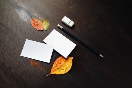 Blank business cards, pencil, eraser and bright autumn leaves on wooden background.