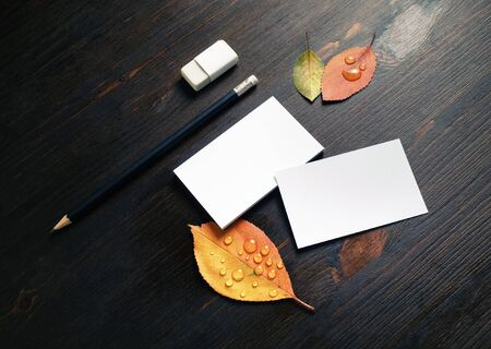 Photo of blank white business cards, pencil, eraser and autumn leaves on wood table background. Branding stationery set. Foto de archivo - 135498380