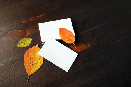Blank paper business cards and autumn leaves on wooden background. Template for placing your design. Copy space for text. Foto de archivo - 135498373