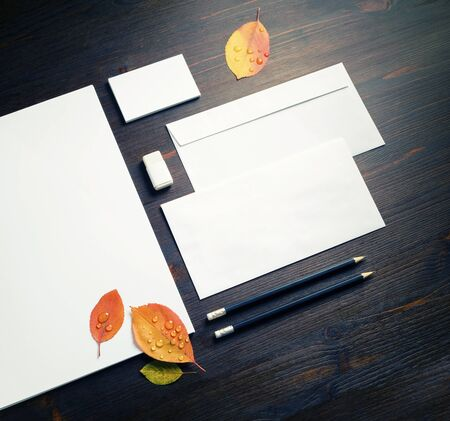 Photo of blank branding stationery set and autumn leaves on wood table background. Foto de archivo - 135498638