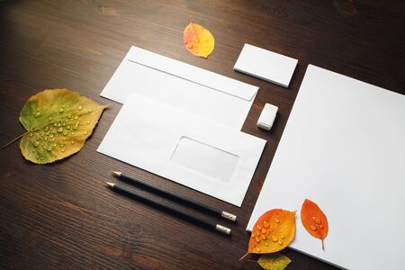 Blank stationery template for placing your design. Photo of blank corporate identity set.