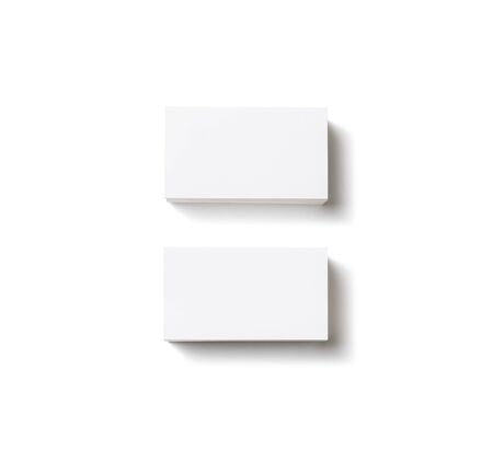 Photo of blank business cards with soft shadows on white background. For design presentations and portfolios. Isolated with clipping path. Flat lay.