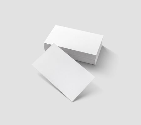 Blank business cards on light gray background. Mockup for branding identity. Isolated with clipping path.