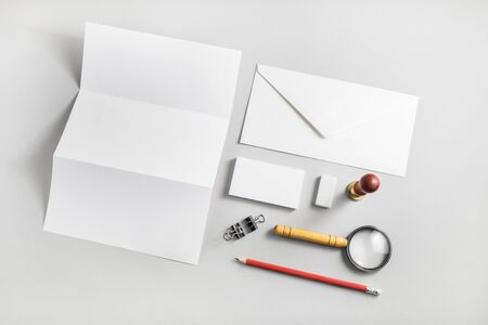 Blank corporate identity set. Mockup for design presentations and portfolios. Flat lay.