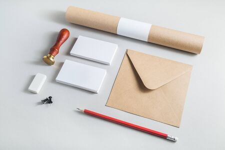 Blank vintage branding template. Photo of blank stationery. Mock-up for design portfolios.