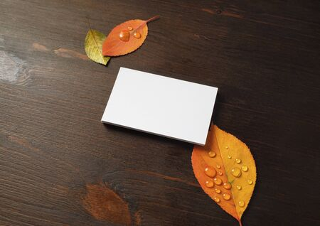 Blank business card and and bright autumn leaves on wood table background. Mock-up for branding identity.