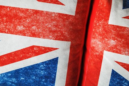 British flag background. Union Jack. Closeup of Great Britain texture on pillows.