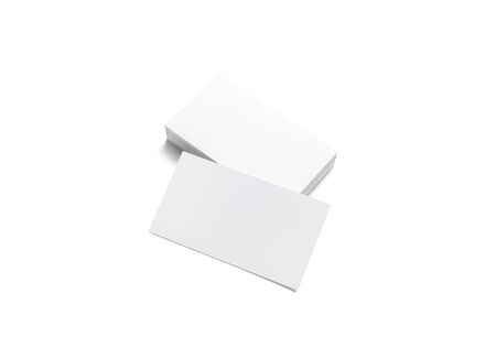 Blank white business cards. Mockup for branding identity. Template for graphic designers portfolios. Isolated with clipping path.