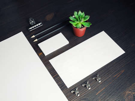 Corporate identity template. Blank stationery mock up on wooden background. Archivio Fotografico
