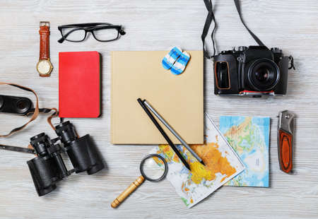 Preparation for travel. Tourist devices. Flat lay.