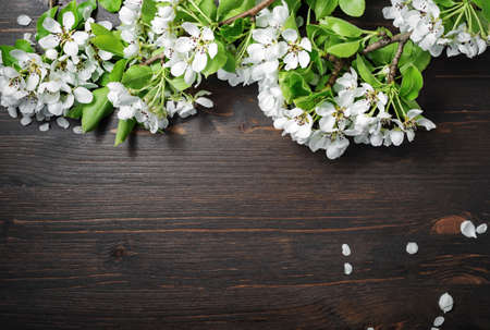 Wood table background or wooden texture with spring flowers. Flat lay.