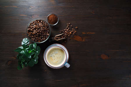 Delicious fresh coffee. Coffee cup, coffee beans, plant and ground powder on vintage wood table background. Top view. Flat lay.