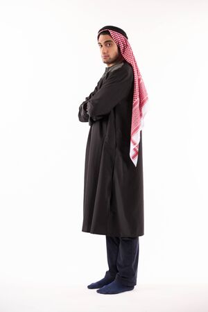 Portrait of an Arab man in kufiya and national dress. Isolated on white background.