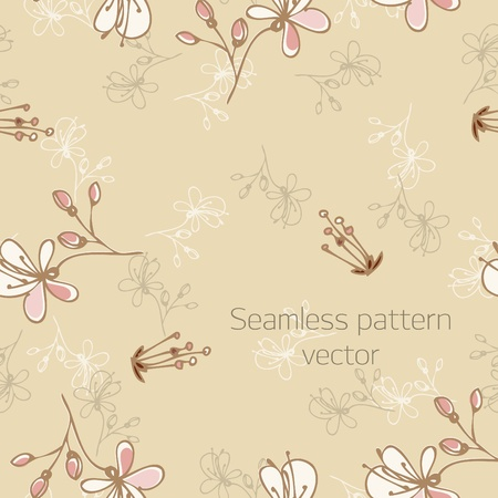 Seamless pattern with florets (vector) Illustration