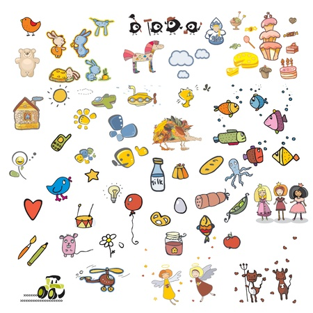 bagel: Set van zeventig onderwerpen voor een borduurwerk op kleding