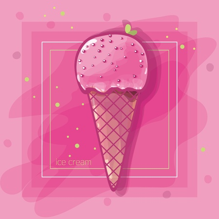 ice cream cone: Vector Illustration: I love crimson ice cream  Illustration