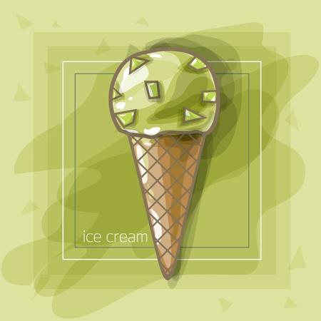 Vector Illustration: I love pistachio ice-cream Illustration