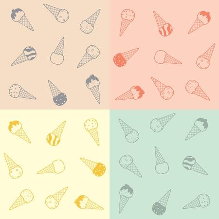 Vector Illustration: Ice-cream pattern