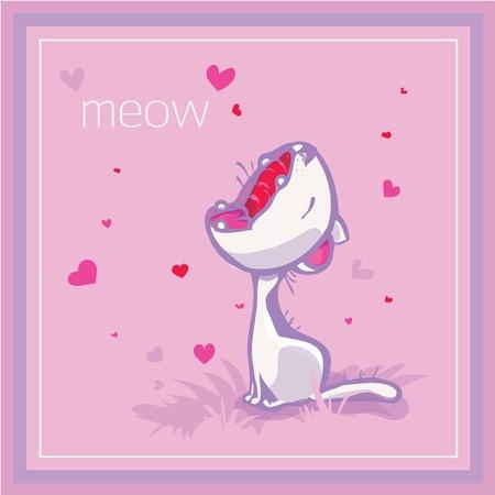 The white cat mews Illustration