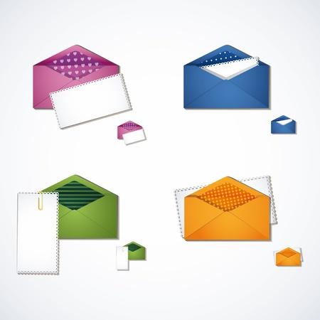 Four multi-colored e-mail icon set Illustration