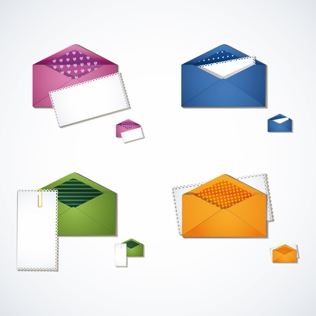 Four multi-colored e-mail icon set Illustration