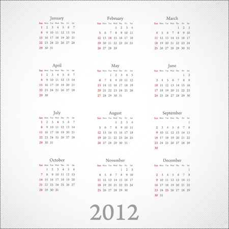 schedulers: calendar 2012: on white Illustration