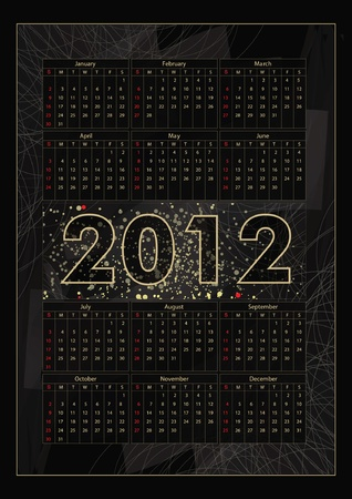 Vector calendar 2012: on black Illustration