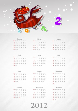 Calendar 2012 with a red dragon: on white