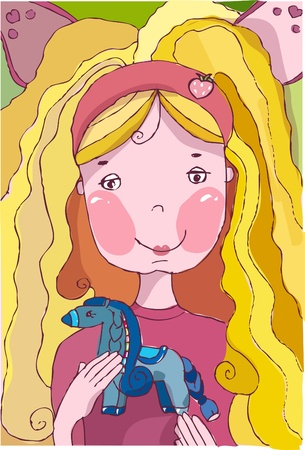 Portrait: Smiling blond girl holds a pony in her hands