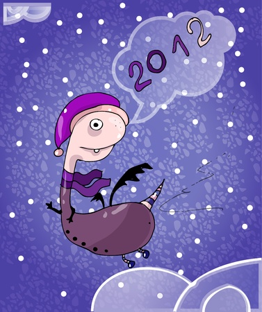 New Years card: cartoon dragon Ia purple scarf flying on the sky (vector)