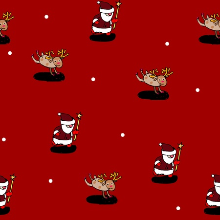 Christmas seamless pattern (vector): Santa Claus and deer