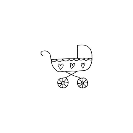 Flat baby stroller icon for lifestyle design. Happy young family set. Flat vector icon. Symbol set.