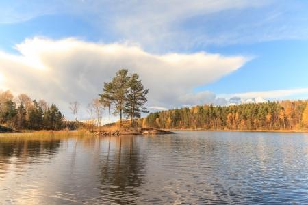 islet: Islet on autumn lake Stock Photo