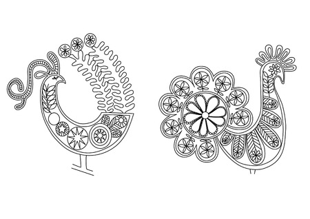 oration: lace birds graphic ornament