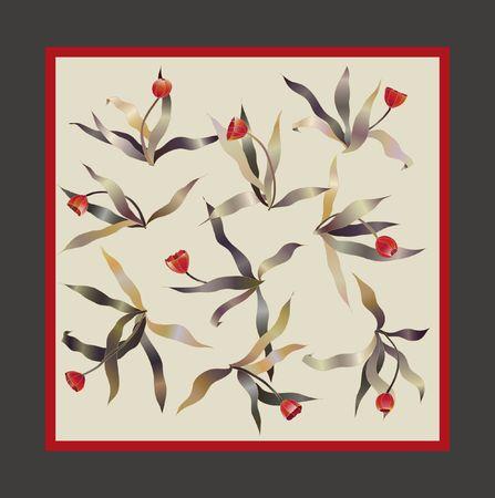 tulipe rouge: croquis de foulard carr� rouge tulipe
