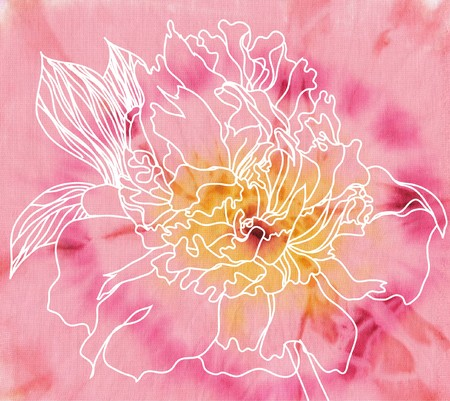 drawing peony on batik background photo