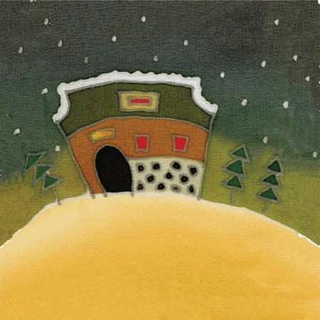 Image of my artwork with a batik textile christmas card Standard-Bild