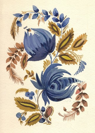 water-colour russian traditional flower pattern photo