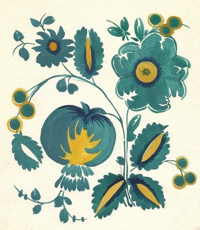 water-colour russian traditional flower pattern Standard-Bild