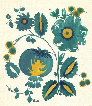 russian tradition: water-colour russian traditional flower pattern Stock Photo