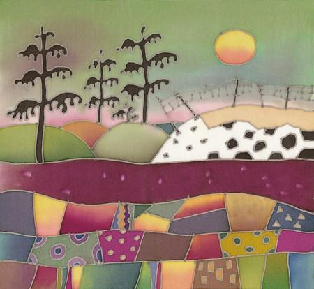 Image of my artwork with a Skandinavian landscape with pine-tree  Фото со стока