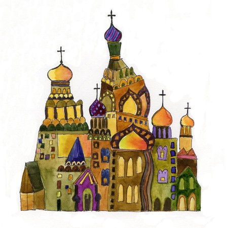 folksy: russian church on white background