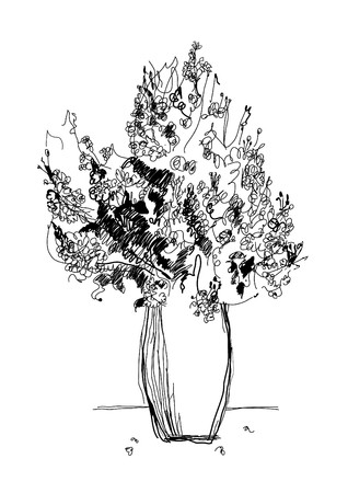 technic: old etching technic drawing bouquet Illustration