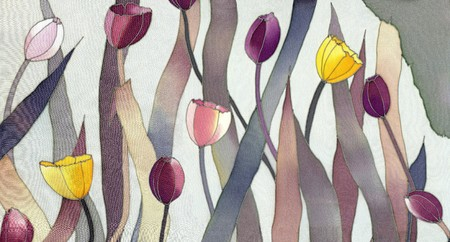 Image of my artwork with a tulips on grey background