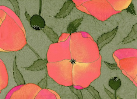 Image of my artwork with a red poppiess on green background