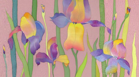 iris flower: Image of my artwork with a iris on pink background