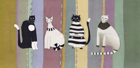 Image of my artwork with a cats on striped background Фото со стока
