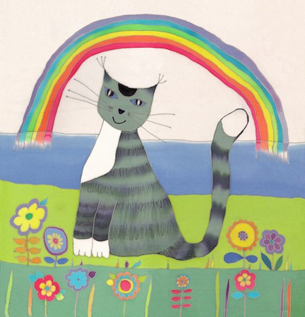 oration: Image of my artwork with a cat Stock Photo