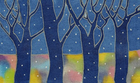 Image of my artwork with a batik textile night snow forest Фото со стока